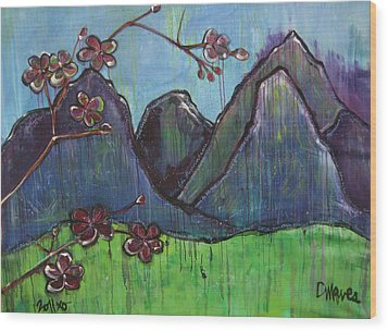 Mountain Pose Wood Print by Laurie Maves ART