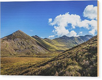 Mountain Range And Valleys In Kerry In Ireland On A Sunny Day Wi Wood Print by Semmick Photo