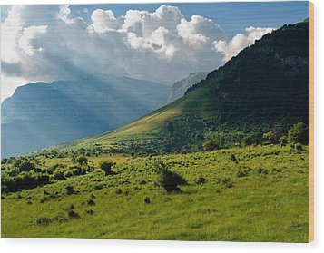 Mountain Rays Wood Print by Evgeni Dinev