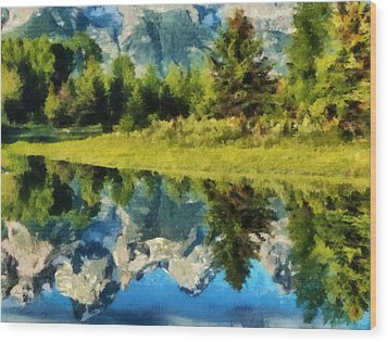Mountain Reflections Wood Print by Russ Harris