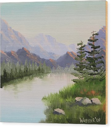 Mountain River Overture Landscape Oil Painting By Northern California Artist Mark Webster  Wood Print