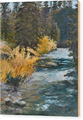 Mountain River Wood Print by Rita Bentley