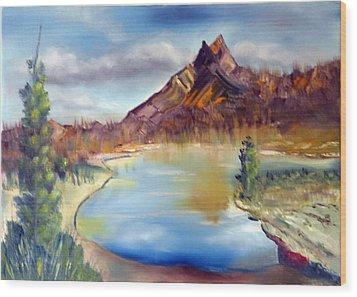 Mountain Scene With Lake Wood Print by Miriam Besa
