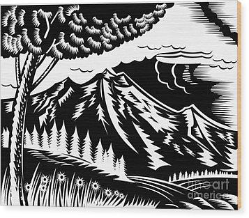 Mountain Scene Woodcut Wood Print by Aloysius Patrimonio