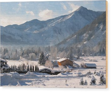 Mountain Snowscape Wood Print by Danny Smythe