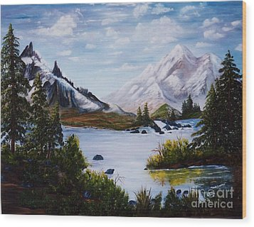 Wood Print featuring the painting Mountain Splendor by Myrna Walsh