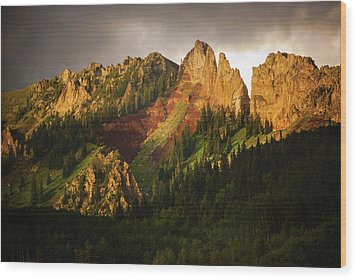 Mountain Storm Light Wood Print