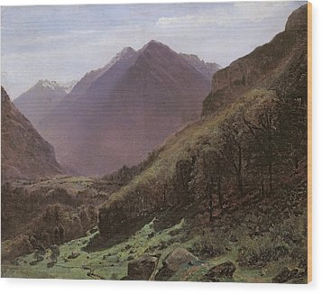 Mountain Study Wood Print by Alexandre Calame