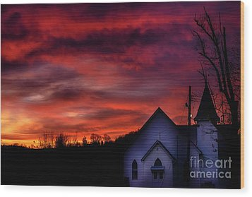 Wood Print featuring the photograph Mountain Sunrise And Church by Thomas R Fletcher