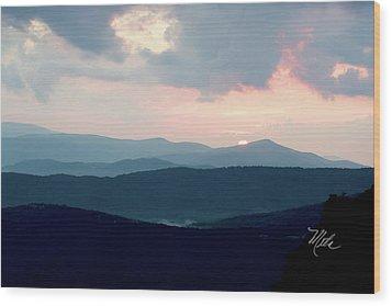 Blue Ridge Mountain Sunset Wood Print by Meta Gatschenberger