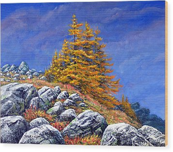 Wood Print featuring the painting Mountain Tamaracks by Frank Wilson