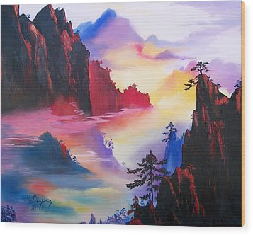 Mountain Top Sunrise Wood Print