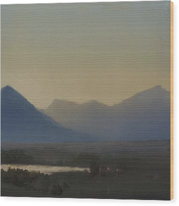 Wood Print featuring the painting Mountain Valley Sold by Cap Pannell