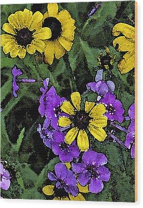 Mountain Wildflowers Wood Print by Debra Wilkinson