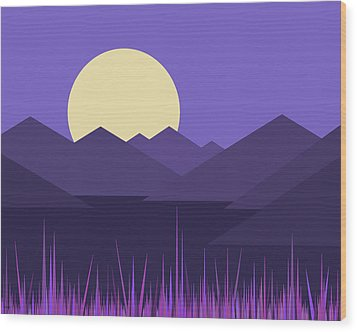Wood Print featuring the digital art Mountains And A Lavender Sky by Val Arie