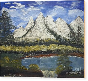 Mountains And Evergreens Wood Print