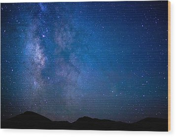 Mountains And Milky Way Wood Print
