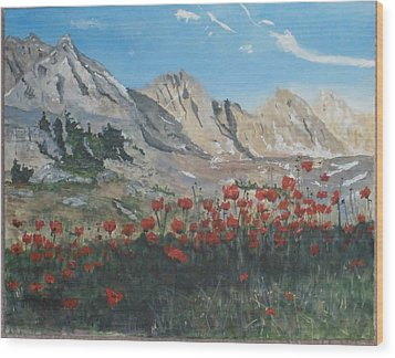 Wood Print featuring the painting Mountains And Poppies by Betty-Anne McDonald