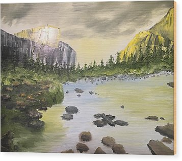 Mountains And Stream Wood Print