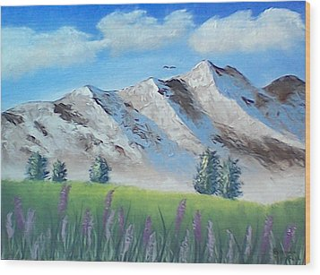 Mountains Wood Print by Brenda Bonfield