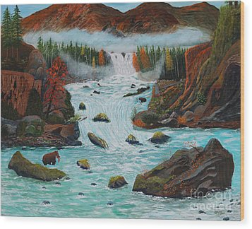 Wood Print featuring the painting Mountains High by Myrna Walsh