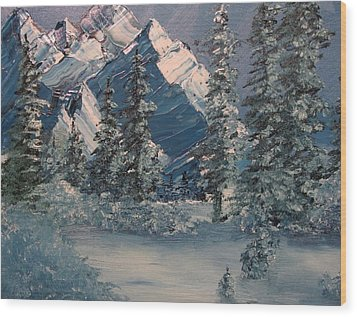 Mountains In Winter Wood Print