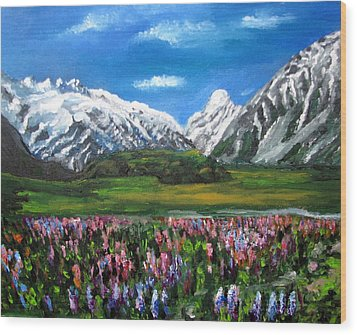 Mountains Landscape Acrylic  Painting Wood Print by Natalja Picugina