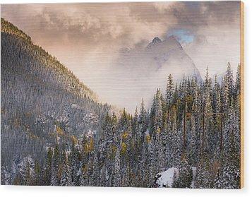 Mountains Light Wood Print