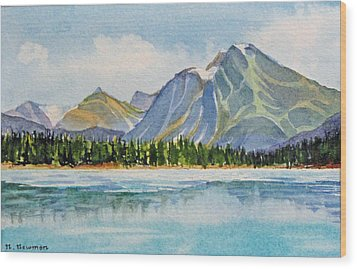 Mountains-near-jasper Wood Print by Nancy Newman