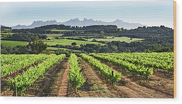 Wood Print featuring the mixed media Mountains Of Montserrat Catalunya by Gina Dsgn