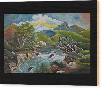 Mountain's River Wood Print by Netka Dimoska
