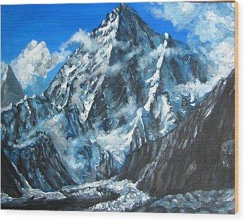 Mountains View Landscape Acrylic Painting Wood Print by Natalja Picugina