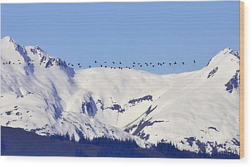 Mountaintop Geese Wood Print