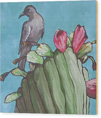 Mourning Dove Wood Print by Sandy Tracey