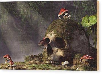 Mouse In A Skull Wood Print by Daniel Eskridge