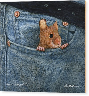 Wood Print featuring the painting Mouse In My Pocket... by Will Bullas