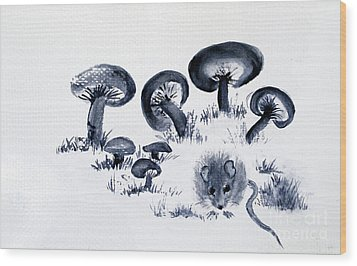 Mouse N Mushrooms Wood Print by Sibby S