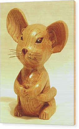 Mouse Wood Print by Russell Ellingsworth