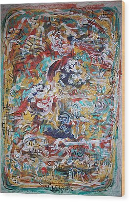 Movements In Love Wood Print by Helene  Champaloux-Saraswati