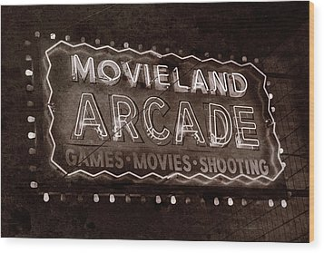 Wood Print featuring the photograph Movieland Arcade - Gritty by Stephen Stookey