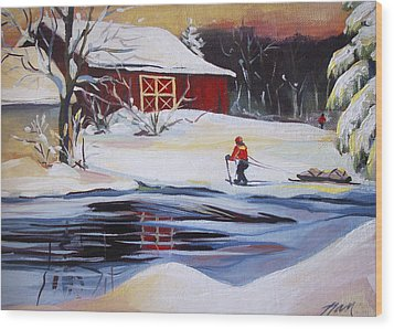 Moving Into Winter Haven Wood Print by Nancy Griswold