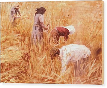 Mowing Harvest Wood Print by George Siaba