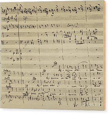 Mozart: Requiem Excerpt Wood Print by Granger