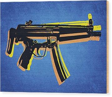 Wood Print featuring the digital art Mp5 Sub Machine Gun On Blue by Michael Tompsett