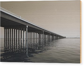 Mprints - Hwy 90 Bridge Wood Print by M  Stuart