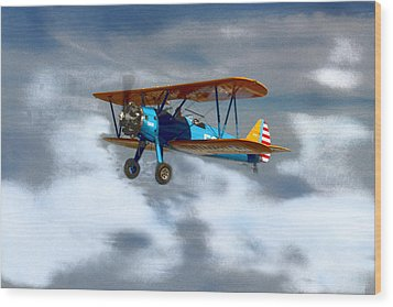 Mprints - Into The Wild Blue Yonder Wood Print by M  Stuart