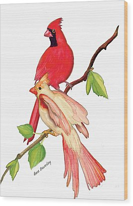 Wood Print featuring the painting Mr. And Mrs. Cardinal by Anne Beverley-Stamps