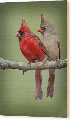 Mr. And Mrs. Northern Cardinal Wood Print