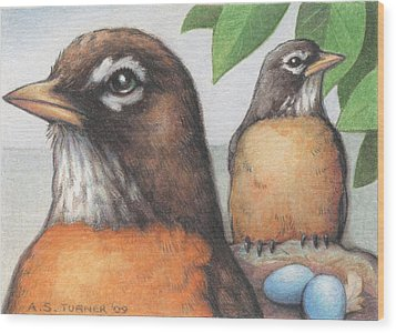 Mr And Mrs Robin Are Expecting Wood Print by Amy S Turner