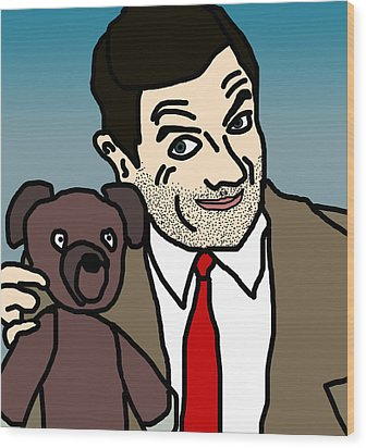 Mr Bean And Teddy Wood Print by Jera Sky